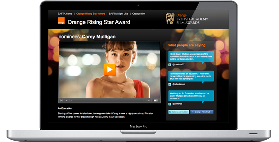 Orange BAFTA site